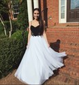 Show details for Black And White Spaghetti Strap Floor-Length A-Line Tulle Prom Dress