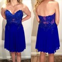 Royal Blue Short Strapless A-Line Lace Bodice Chiffon Homecoming Dress