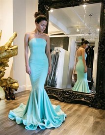 Trumpet/Mermaid Simple Elegant Strapless Floor-Length Evening Dress