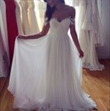 Off-The-Shoulder A-Line Chiffon Beach Wedding Dress With Appliques