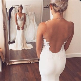 Sleeveless Mermaid Lace Embellished Wedding Dress With Illusion Bodice
