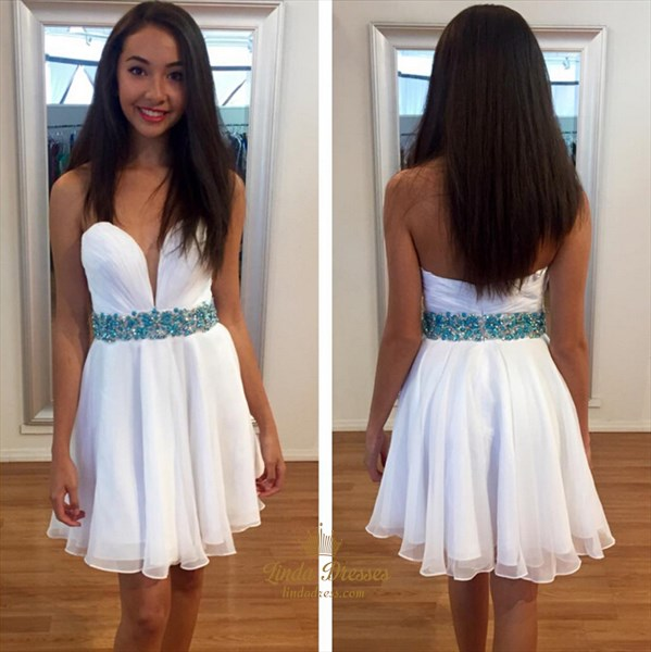 White Short Strapless A-Line Beaded Waist Chiffon Homecoming Dress