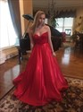 Elegant Red Strapless Sweetheart Lace Bodice A-Line Satin Prom Dress