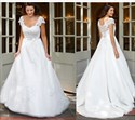 Show details for Elegant White Cap Sleeve A-Line Wedding Dress With Lace Embellished