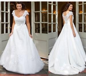 Elegant White Cap Sleeve A-Line Wedding Dress With Lace Embellished