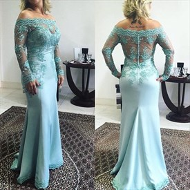 Long Sleeve Off-The-Shoulder Illusion Lace Bodice Mermaid Prom Dress