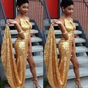 Simple Gold Sequin Sleeveless Long Evening Dress With Keyhole Front