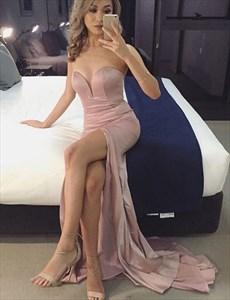 Floor-Length Strapless Sweetheart Neckline Evening Dress With Slit