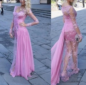 Illusion Lace-Overlay V-Neck Long-Sleeve Long Evening Dress With Train
