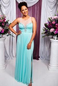 Sheer Neckline Sleeveless Ruched Bodice Chiffon Prom Dress With Slit