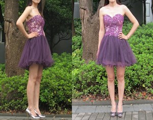 Purple A-Line Short Strapless Lace Bodice Tulle Skirt Homecoming Dress