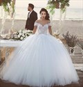 Show details for Elegant Off-The-Shoulder Lace Bodice Tulle Ball Gown Wedding Dress