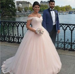 Blush Pink Off-The-Shoulder Lace Bodice Tulle Ball Gown Wedding Dress