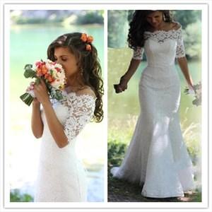 White Off Shoulder Half Sleeve Floor-Length Mermaid Lace Wedding Dress