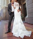 Show details for White Off Shoulder Half Sleeve Floor-Length Mermaid Lace Wedding Dress