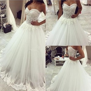 White Strapless Sweetheart A-Line Lace Embellished Tulle Wedding Dress