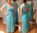 Elegant V Neck Cap Sleeve Lace A-Line Prom Dress With Illusion Back