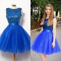 Show details for A-Line Royal Blue Sleeveless Tulle Homecoming Dress With Beaded Bodice