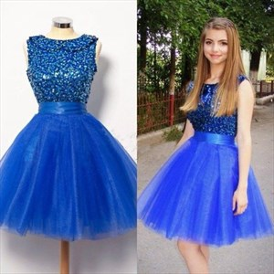 A-Line Royal Blue Sleeveless Tulle Homecoming Dress With Beaded Bodice