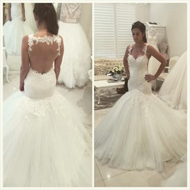Backless Sleeveless Sweetheart Tulle Mermaid Ball Gown Wedding Dress