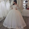 Show details for Elegant Lace Applique Tulle Ball Gown Wedding Dress With Long Sleeves