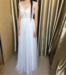 White Illusion Cap Sleeve Chiffon Long Prom Dress With Keyhole Back