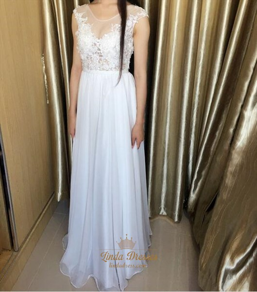 White Illusion Cap Sleeve Chiffon Long Prom Dress With Keyhole Back