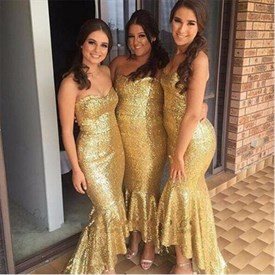 Gold Sequin Strapless Sweetheart High Low Mermaid Bridesmaid Dress