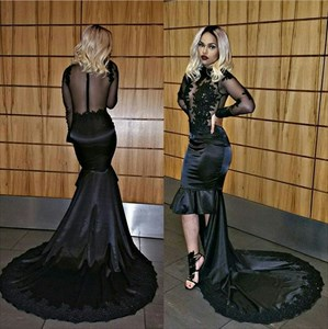Black Sheer Long Sleeve Tea Length Sheath Evening Dress With Train