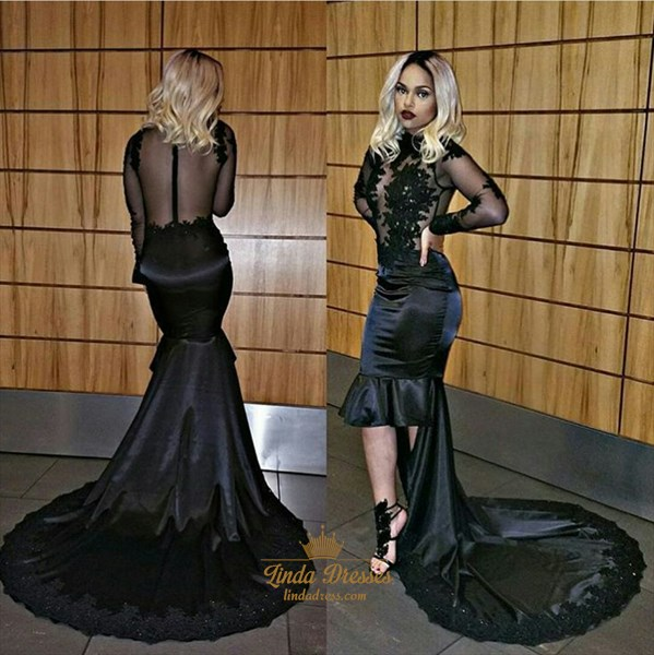 Black Sheer Long Sleeve Tea Length Sheath Evening Dress With Train