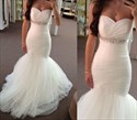 Show details for White Floor-Length Strapless Ruched Bodice Tulle Mermaid Wedding Dress