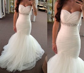 White Floor-Length Strapless Ruched Bodice Tulle Mermaid Wedding Dress