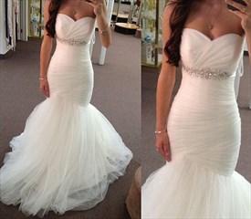 White Floor-Length Strapless Ruched Bodice Tulle Mermaid Wedding Dress