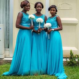A-Line Sleeveless Lace Bodice Chiffon Bottom Long Bridesmaid Dress