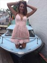 Show details for Blush Pink Deep V-Neck A-Line Sleeveless Short Lace Homecoming Dress