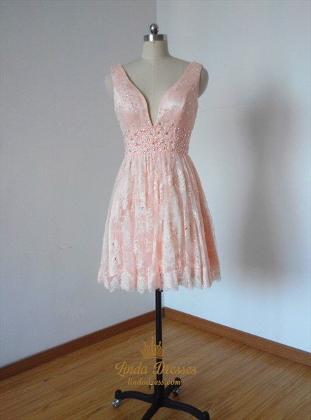 Blush Pink Deep V-Neck A-Line Sleeveless Short Lace Homecoming Dress