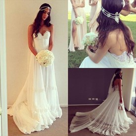 White Floor-Length A-Line Lace Embellished Strapless Wedding Dress
