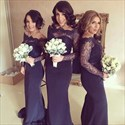 Show details for Navy Blue Off-The-Shoulder Long Sleeve Lace Bodice Bridesmaid Dress