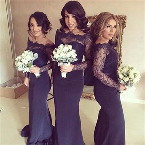 Navy Blue Off-The-Shoulder Long Sleeve Lace Bodice Bridesmaid Dress