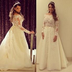 Off-The-Shoulder Long-Sleeve Lace Applique Embellished Wedding Dress