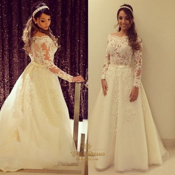 Off-The-Shoulder Long-Sleeve Lace Applique Embellished Wedding Dress