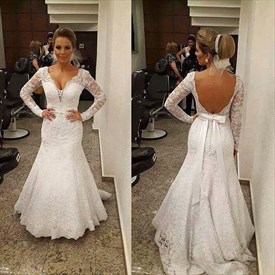 V-Neck Long Sleeve Mermaid Floor Length Lace Open Back Wedding Dress