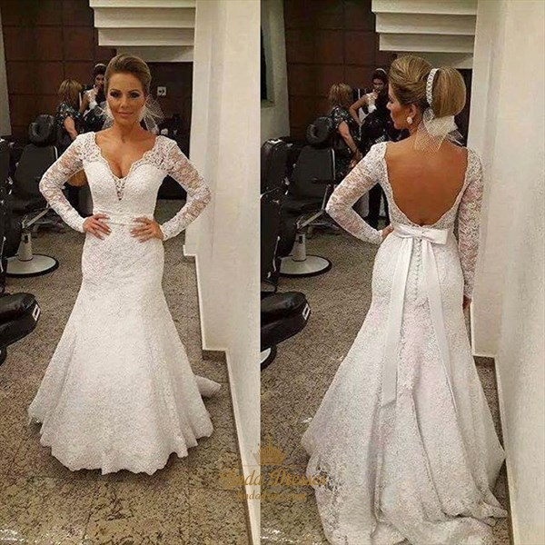 Show details for V-Neck Long Sleeve Mermaid Floor Length Lace Open Back Wedding Dress