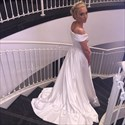 Show details for White Floor-Length Off-The-Shoulder V-Neck A-Line Beach Wedding Dress
