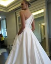 Show details for Simple One Shoulder A-Line Floor Length Satin Ball Gown Wedding Dress
