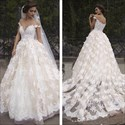 Show details for Applique Off The Shoulder V-Neck Floor Length Wedding Dress With Train