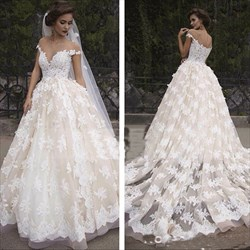 Applique Off The Shoulder V-Neck Floor Length Wedding Dress With Train