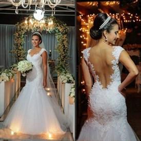 White Floor-Length Cap Sleeve Lace Bodice Tulle Mermaid Wedding Dress