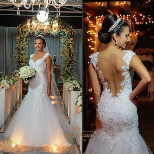 White Floor-Length Cap Sleeve Lace Bodice Tulle Mermaid Wedding Dress
