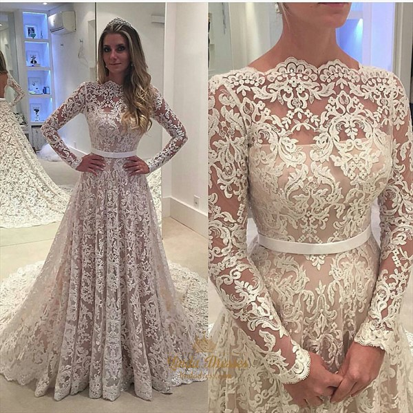 Illusion Lace Overlay Long Sleeve Wedding Dress With Cathedral Train